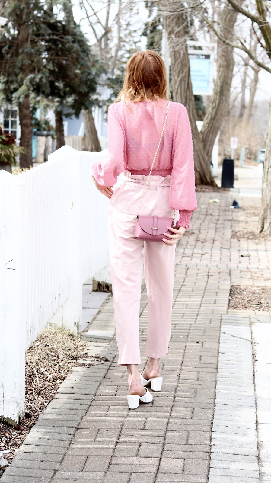 How to wear Pink on Pink, Pink Power Suit, Dynamite Dotted Lollipop blouse, Shop M pink pant, Hudson Bay white leather mule, Blue Lemon Paris bag