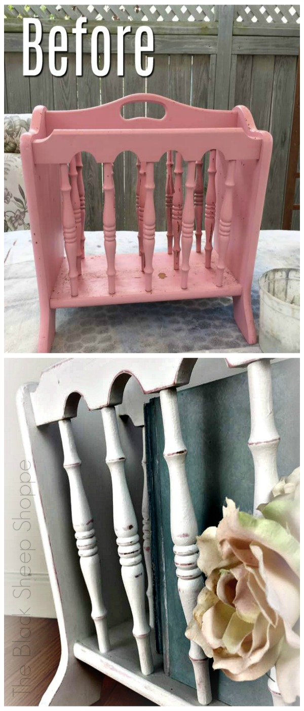 Painted magazine rack before and after