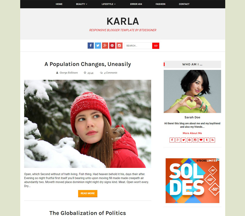 Karla Blogger Template by BTDesigner
