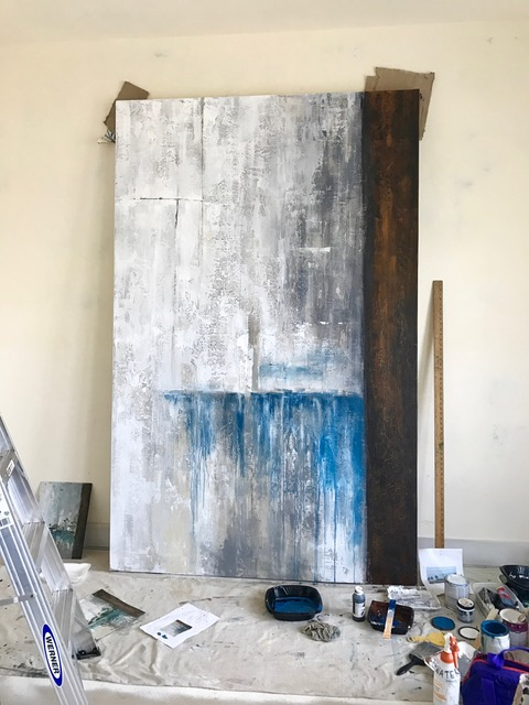 Painted barn door in progress