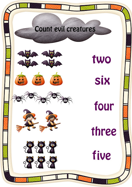 Halloween worksheet for English learning