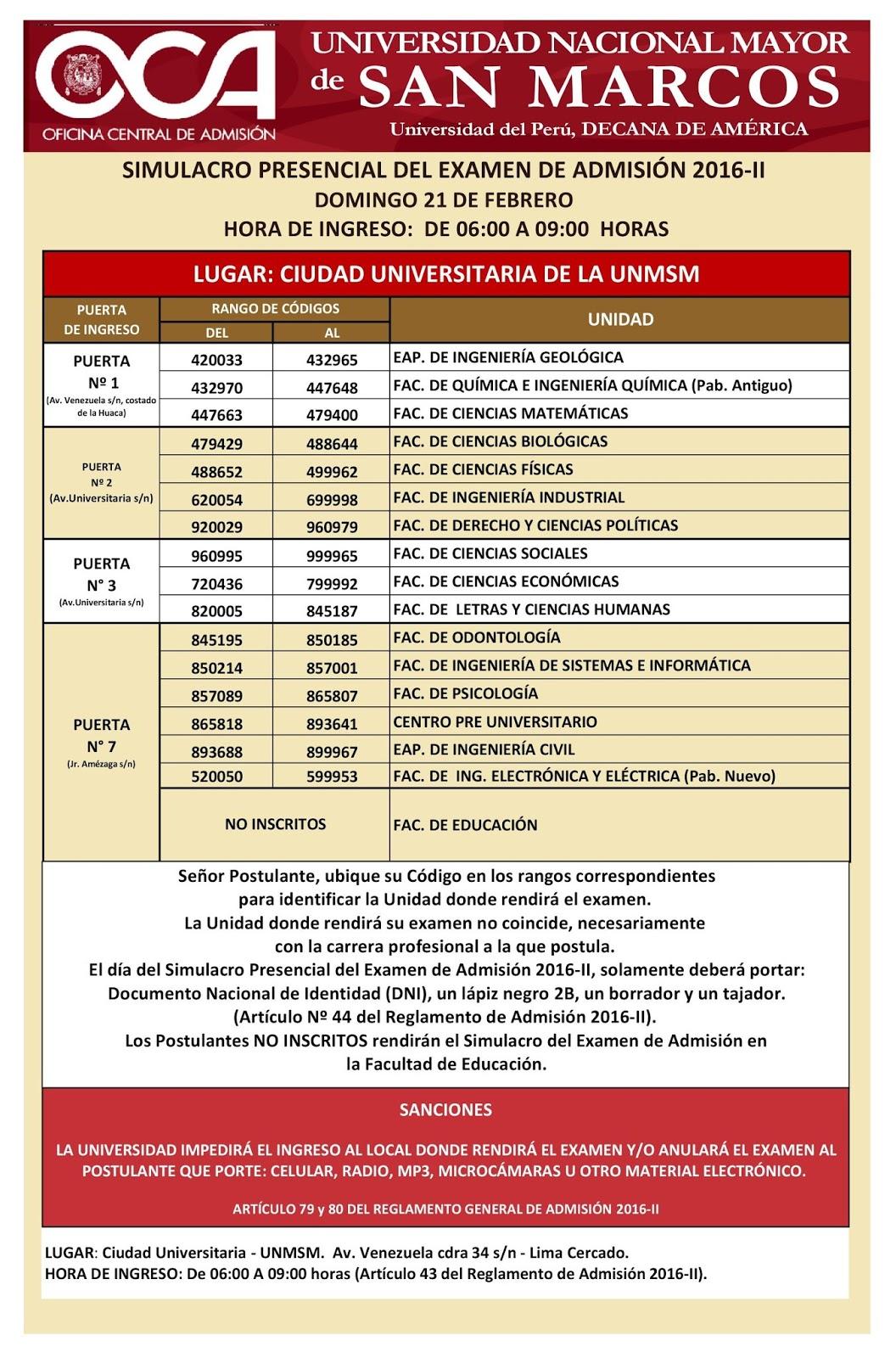 Locales y aulas simulacro presencial san marcos unmsm 2016 for Puerta 8 san marcos