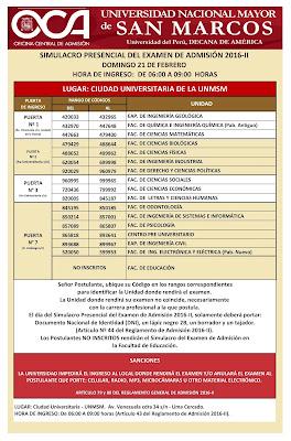 Locales y aulas Simulacro presencial San Marcos UNMSM 2016-II 21 de febrero