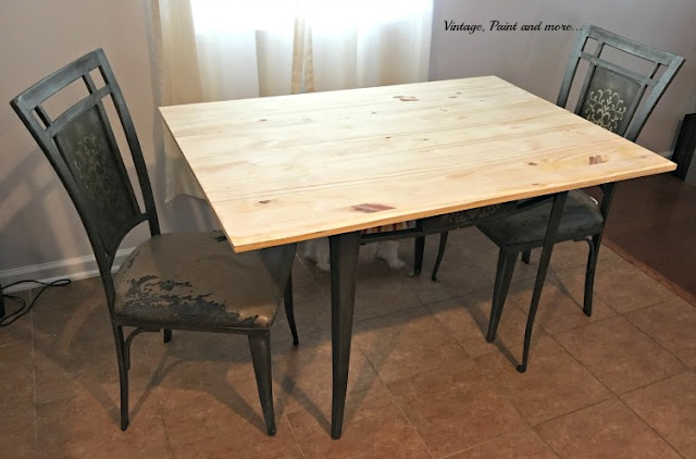 kitchen tables & more slate appliance package table and chairs makeover vintage paint making over a thrift store with