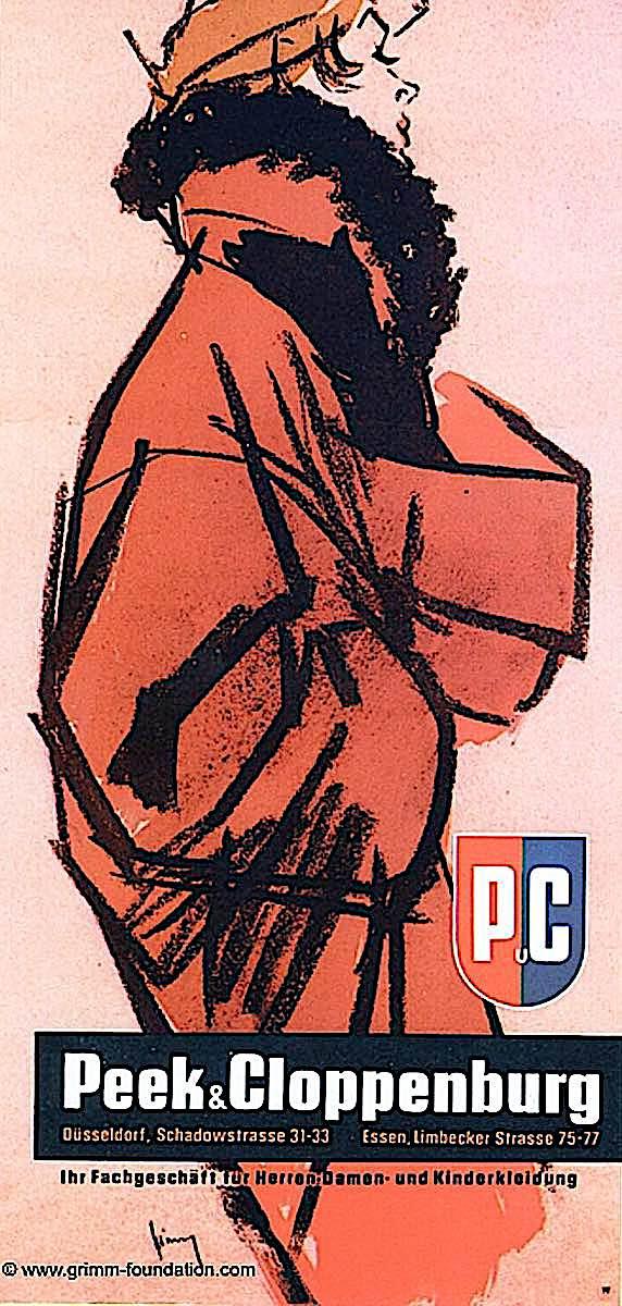 a Gerd Grimm illustration for Peek & Cloppenburg, in red