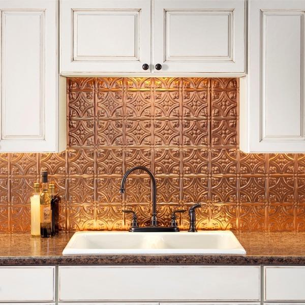 fasade polished copper backsplash panel