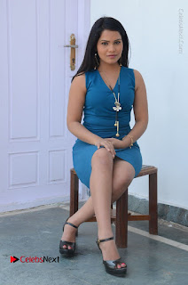 Telugu Actress Kulakarni Mamatha Stills in Blue Short Dress at Idea movie Creations Launch  0171.JPG