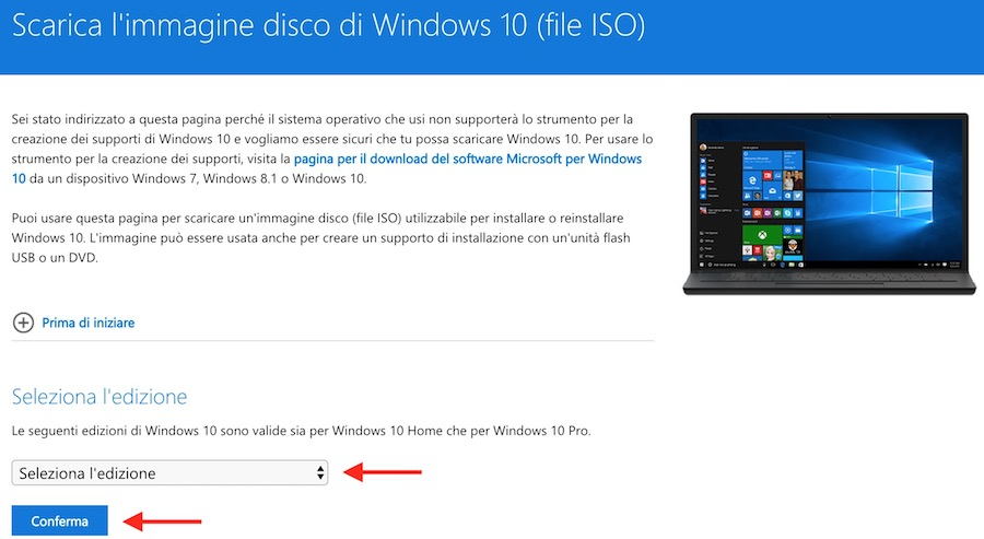 Come scaricare ISO Windows 10 con Creators Update