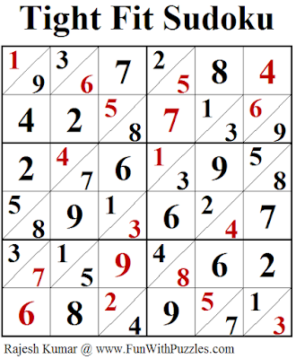 Tight Fit Sudoku (Fun With Sudoku #220) Puzzle Answer