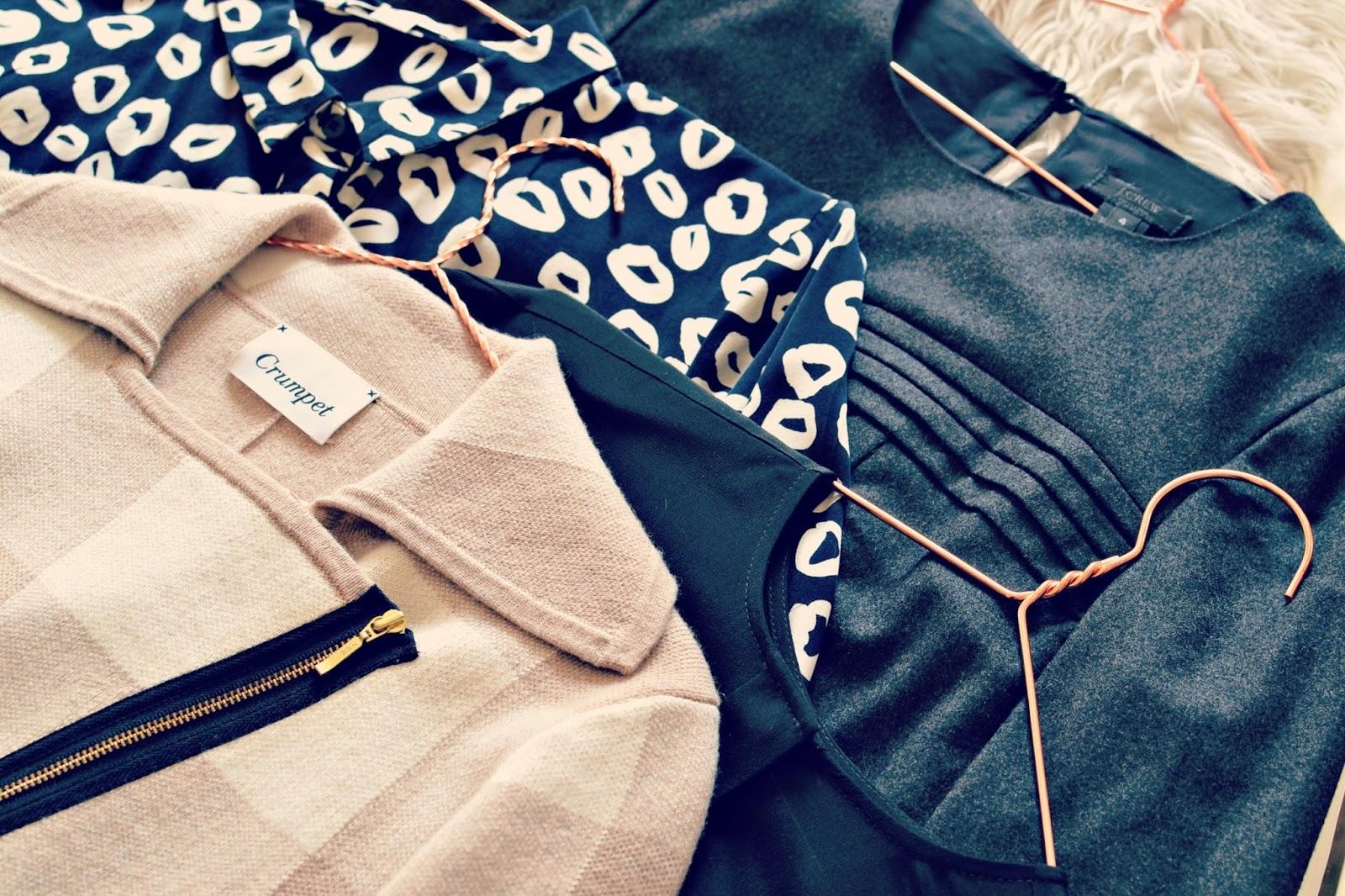 Crumpet cashmere biker jacket , Whistles loop print shirt, J Crew woolen top, Topshop boutique silk boxy top