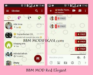 BBM Mod Red Theme Fitur Lengkap V3.0.0.18 apk Full DP Tanpa Crop