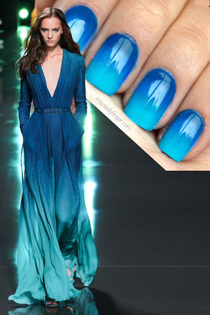 uñas decoradas con azul
