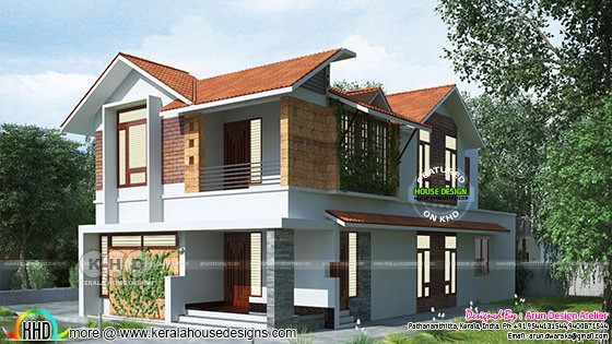 2460 square feet Sloped roof Kerala villa