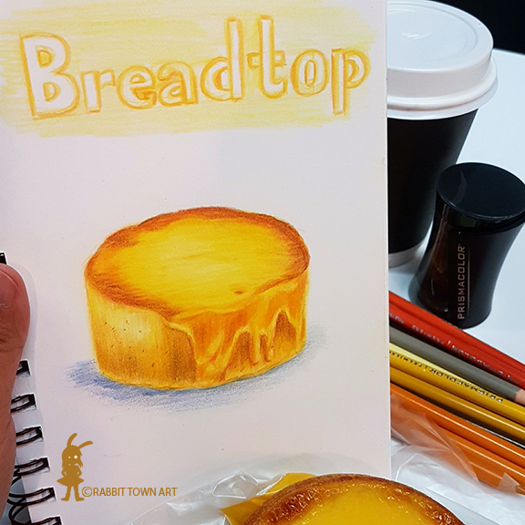 Honey Cheese Sponge drawing from breadtop bakery.  It was so very very nice and yummy to eat!  Drawing by marta Tesoro aka Rabbit Town Art