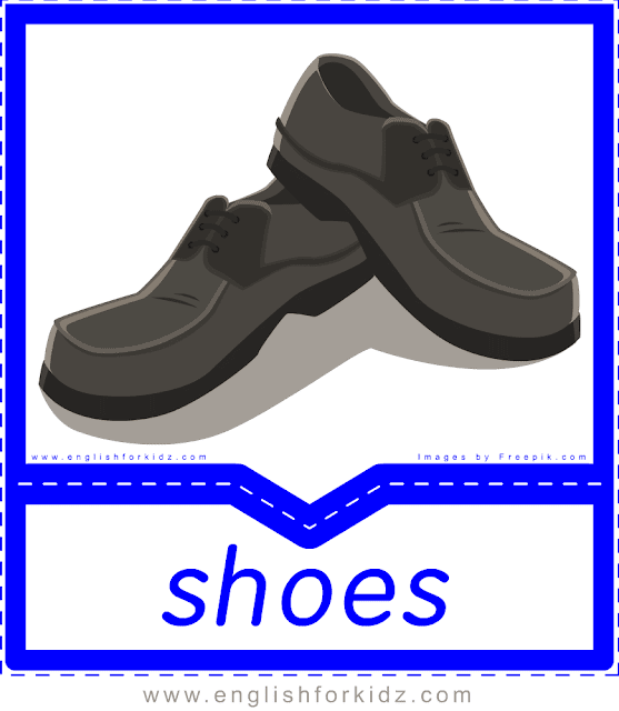 Shoes - English clothes and accessories flashcards for ESL students