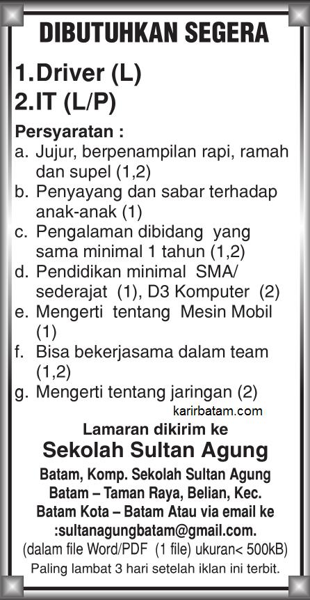 Lowongan Kerja Sekolah Sultan Agung Batam