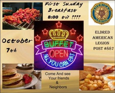10-7 All You Can Eat Breakfast Buffet, Eldred