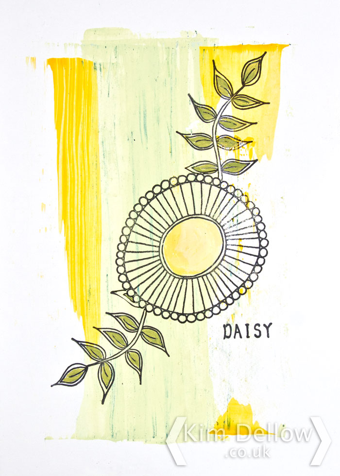 Daisy a faux print look picture using PaperArtsy Darcy and Lin Brown Stamps