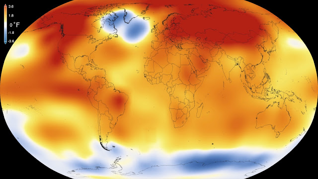Record-shattering global warm temperatures recorded in 2015
