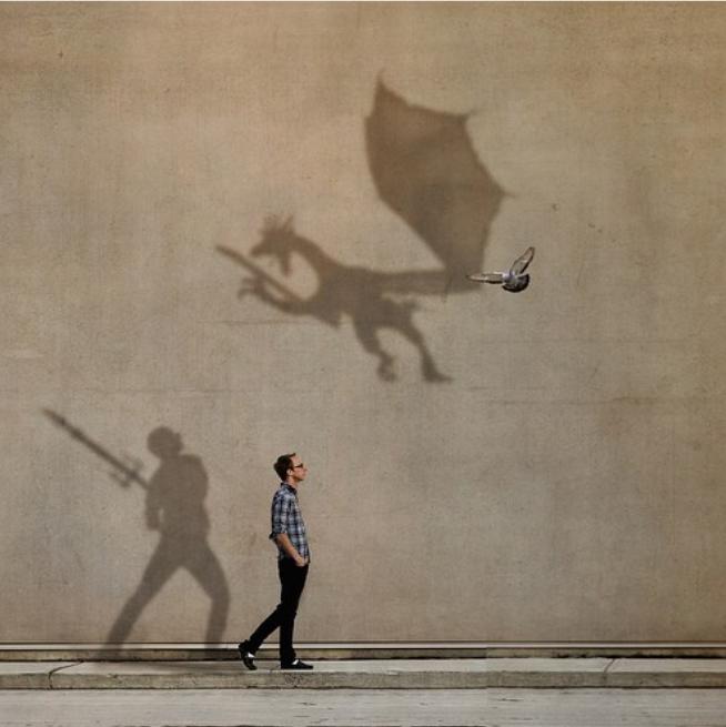 Imaginación dragones y guerreros