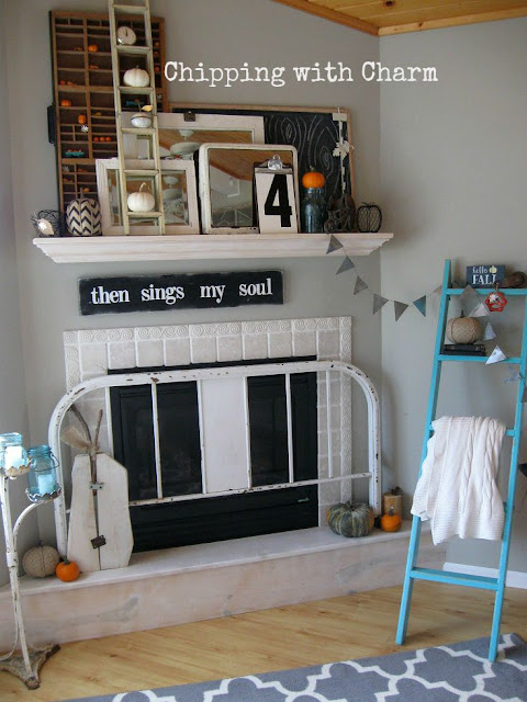 Chipping with Charm: Fall Mantel Details...www.chippingwithcharm.blogspot.com