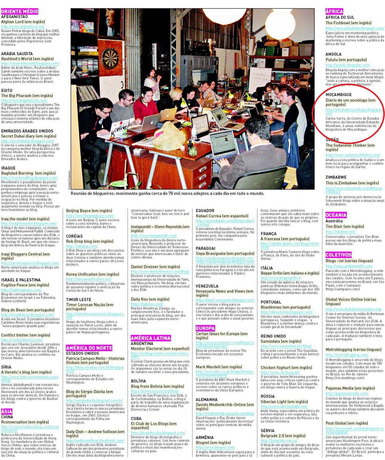 di rio de um soci logo entre 50 blogues para entender o mundo 2008