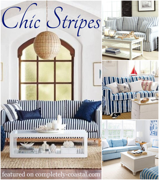 Striped Sofa Ideas For A Coastal Nautical Beach Style Living Room Design Coastal Decor Ideas Interior Design Diy Shopping