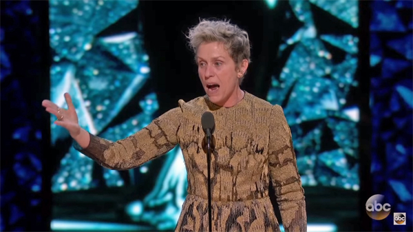 image of Frances McDormand onstage during her Oscar acceptance speech