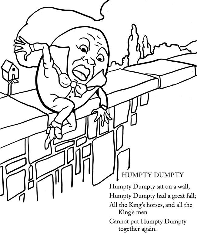 humpty dumpty puzzle template - free humpty dumpty with words coloring pages