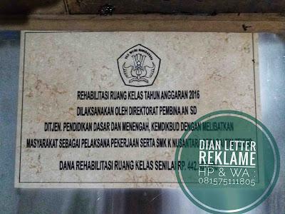 jasa pembuatan marmer prasasti untuk peresmian di Pati