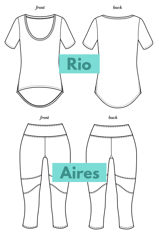 The Aires leggings and Rio top from Seamwork are trendy sewing patterns for yoga clothes.