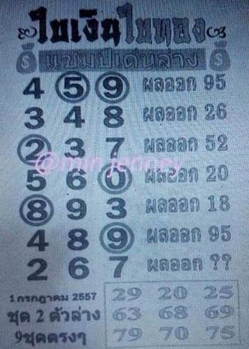 Thai lotto Down Touch Tip Paper 01-07-2014