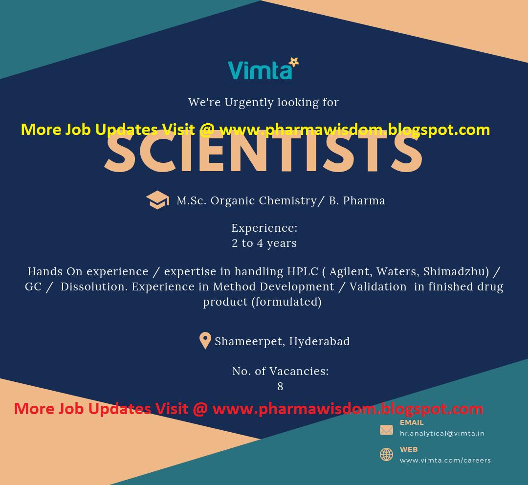Vimta Labs - Urgently Hiring Scientists (15 Vacancy) @ Hyderabad