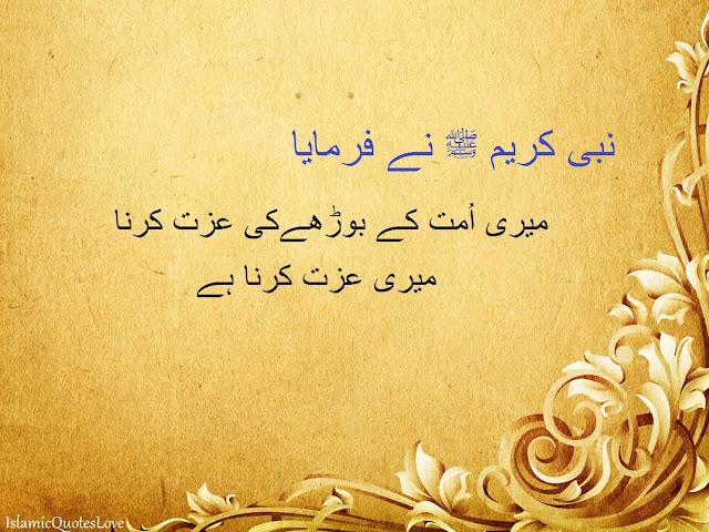 نبی کریم ﷺ نے فرمایا میری اُمت کے بوڑھےکی عزت کرنا میری عزت کرنا ہے