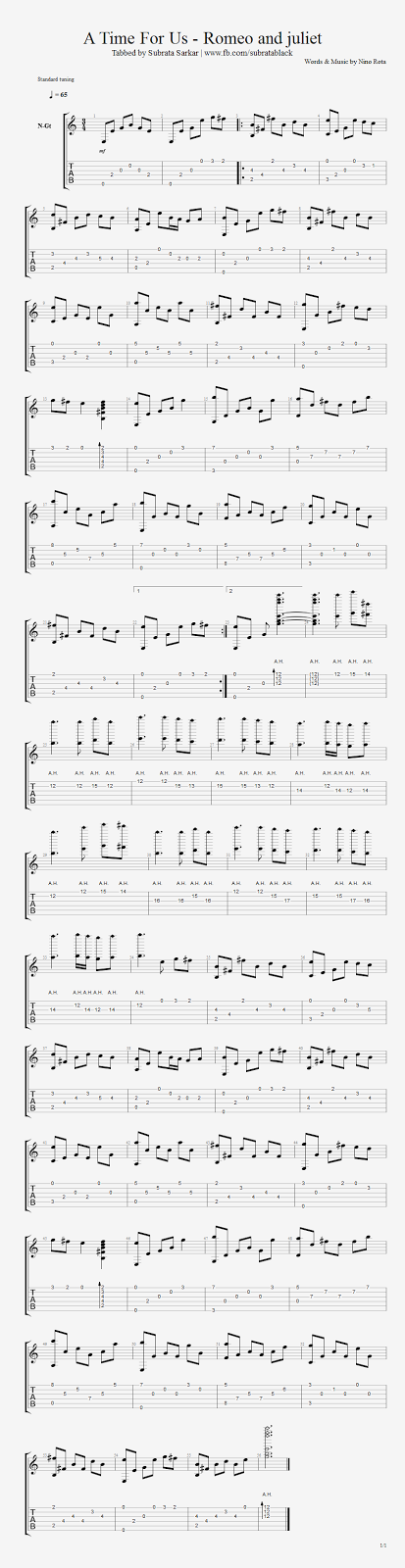 Guitar Chord Tab Lyric and Tutorial: A Time For Us Fingerstyle ...
