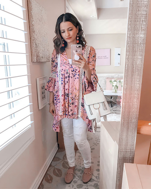 Summer 2018 Cute Summer Blogger Outfit Pink Chicwish Tunic Chloe Dupe Backpack in White