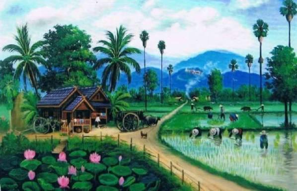 Nostalgia Lukisan Pemandangan Sawah Masa kecil Dulu