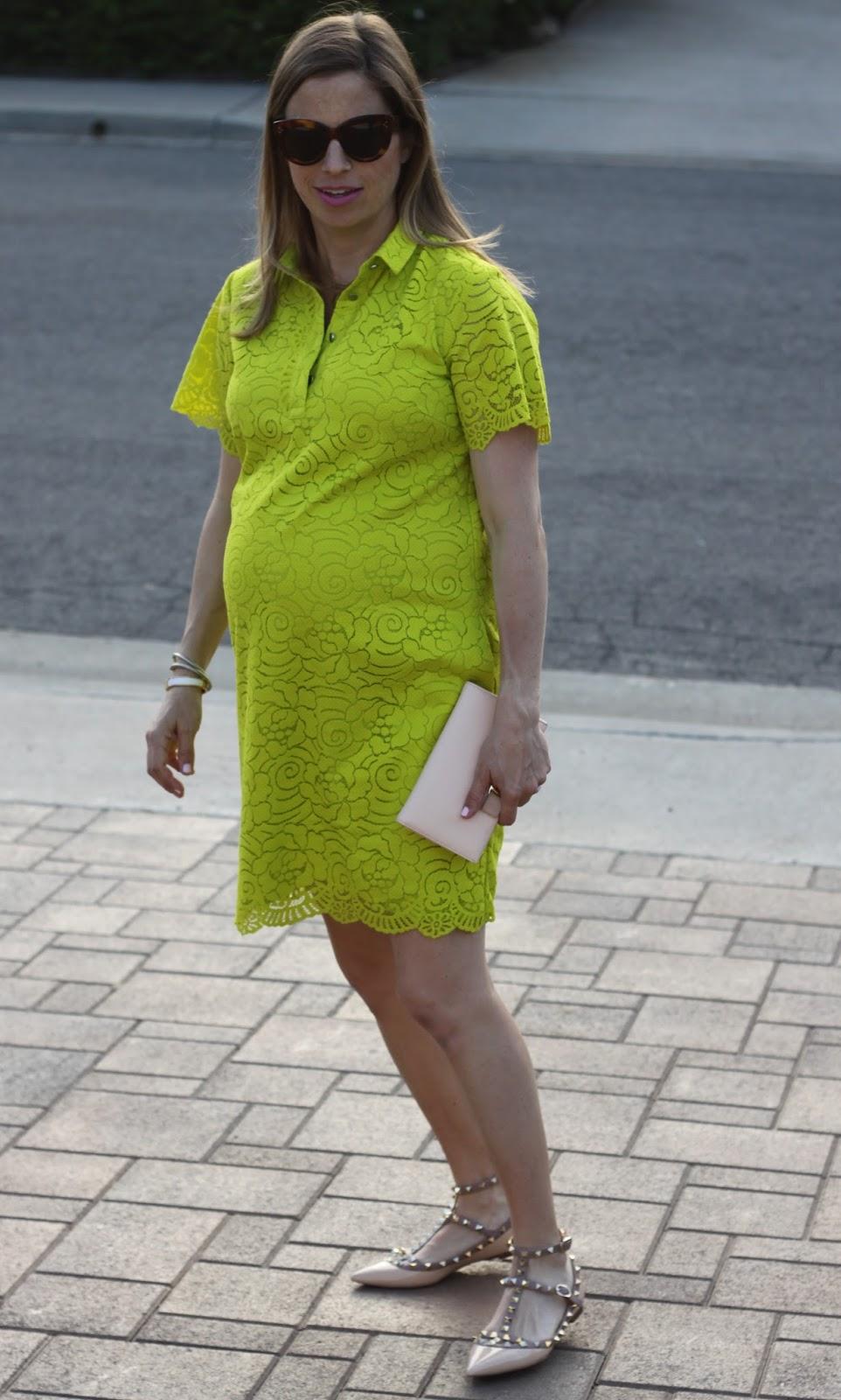 maternity neon lace dress
