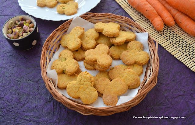 Whole Wheat Carrot Pistachio cookies