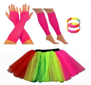 Multi-Coloured Skirt with fishnet gloves, leg warmers and rainbow bangles