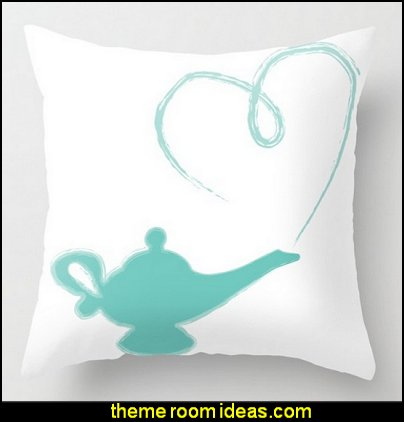 A Whole New World Throw Pillow  I Dream of Jeannie theme bedrooms - Moroccan style decorating - Jeannie bedroom harem style - Arabian Nights theme bedrooms - bed canopy - Moroccan stencils - I dream of Jeannie bottle - satin bedding - throw pillows - Moroccan furniture - Aladdin bedroom ideas - Princess Jasmine decor - Arabian princess costume -  Harem Costumes