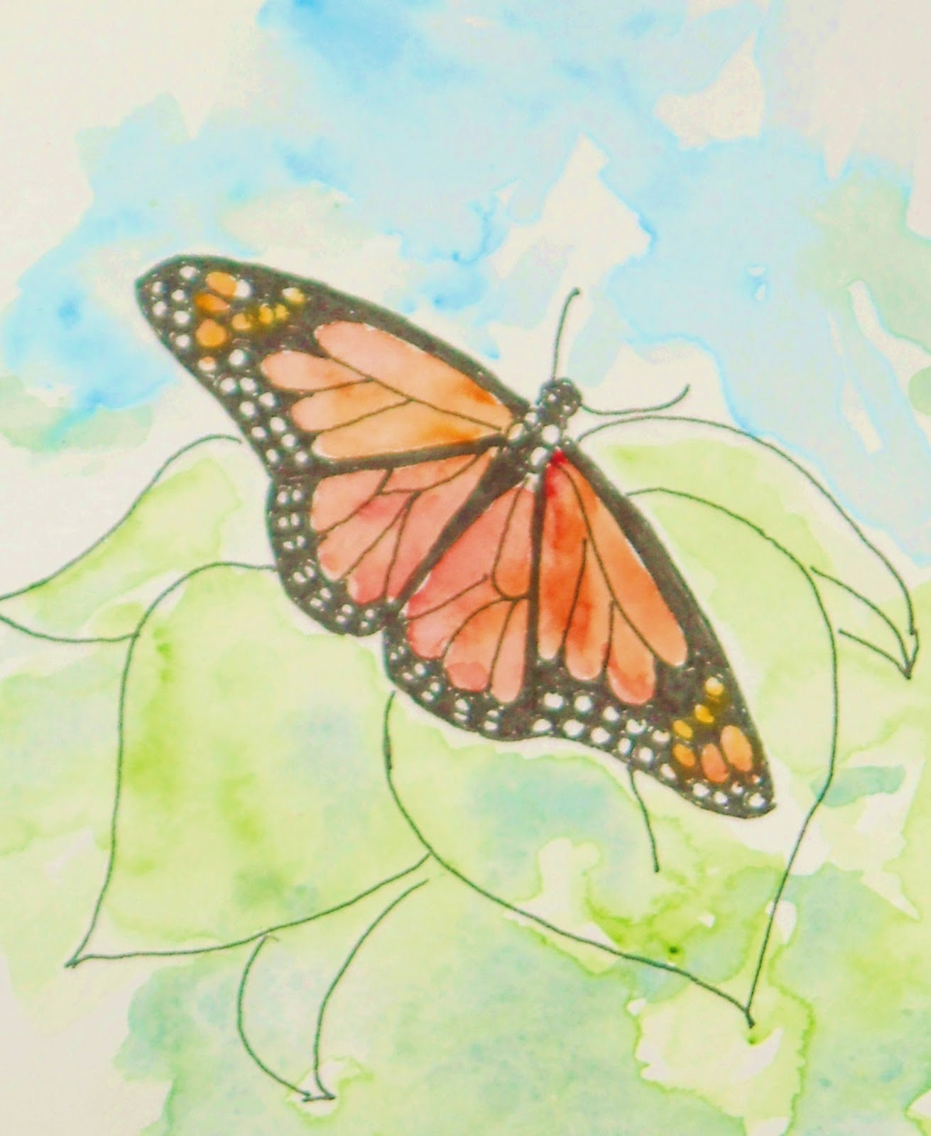 how to draw a simple monarch butterfly