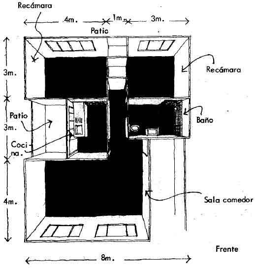 Idea 7-Vivienda un piso en terreno de 8 mts. de ancho