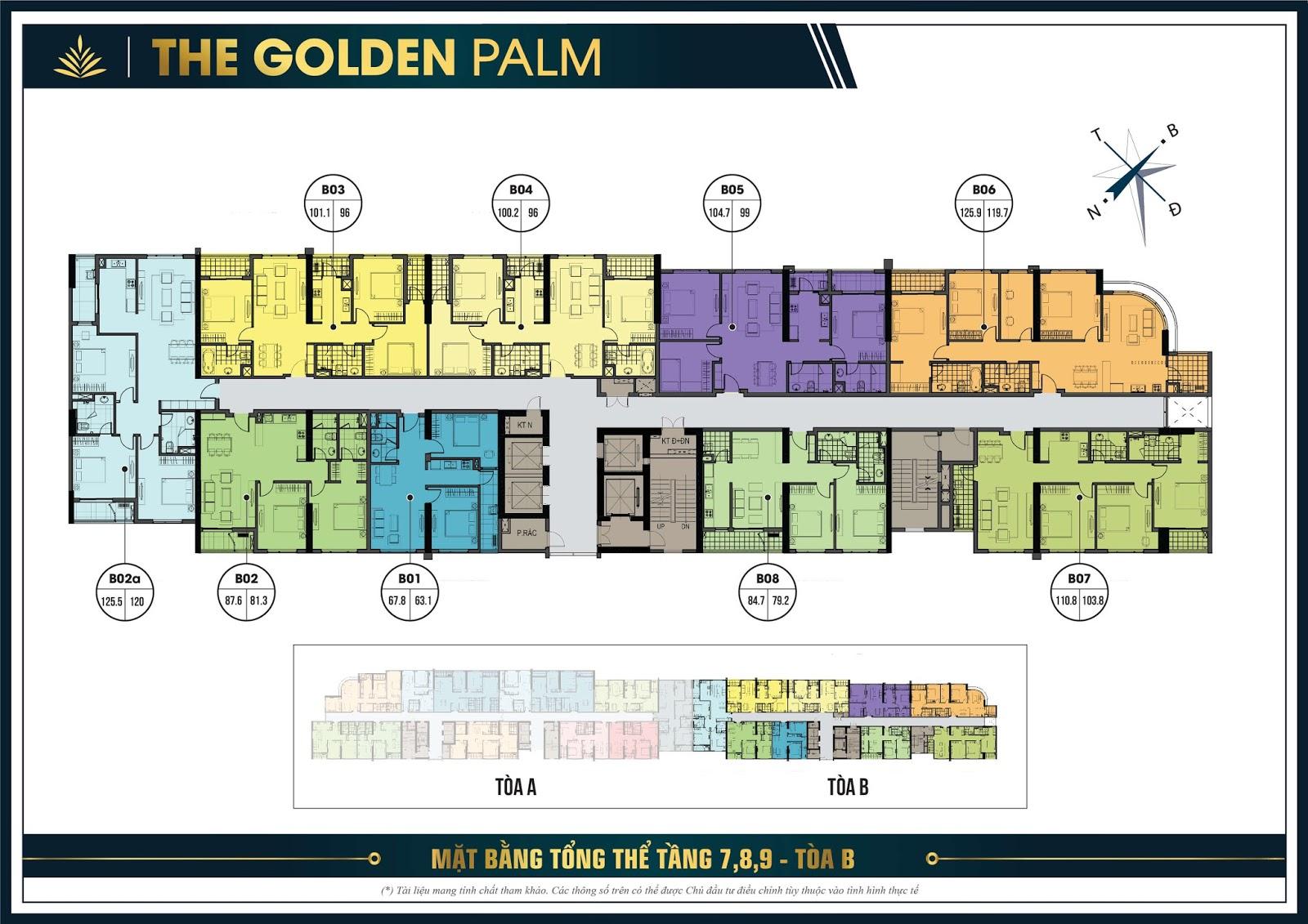 Thiết kế mặt bằng căn hộ điển hình tầng 7, 8 và 9 tòa B - The Golden Palm