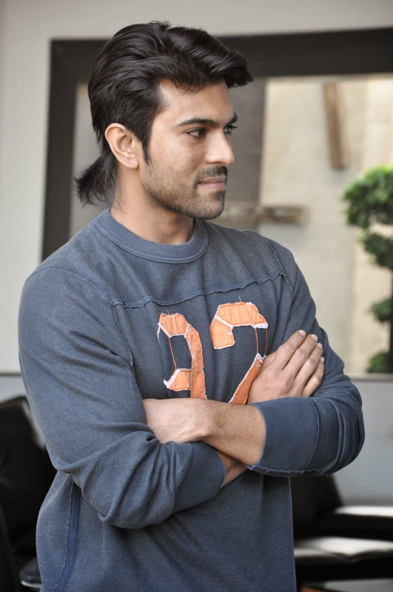 Ram Charan New Pony Tail Look Photos Latest Movie Updates Movie Promotions Branding Online