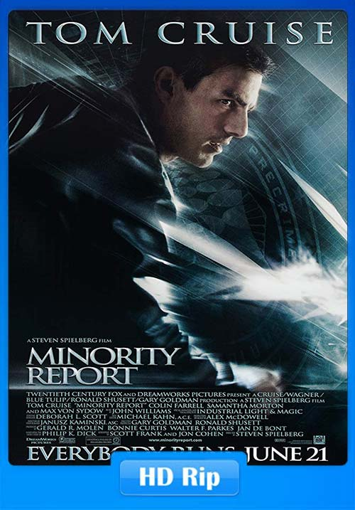 Minority Report 2002 720p BDRip Hindi Tamil Eng x264 | 480p 300MB | 100MB HEVC