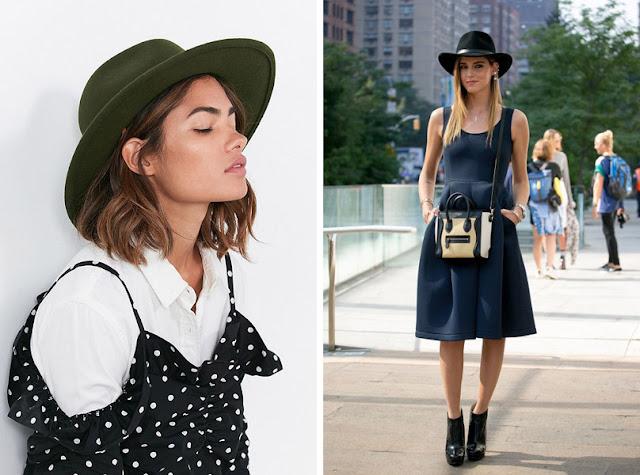 Девушка в черной фетровой шляпе федоре летом в городе
