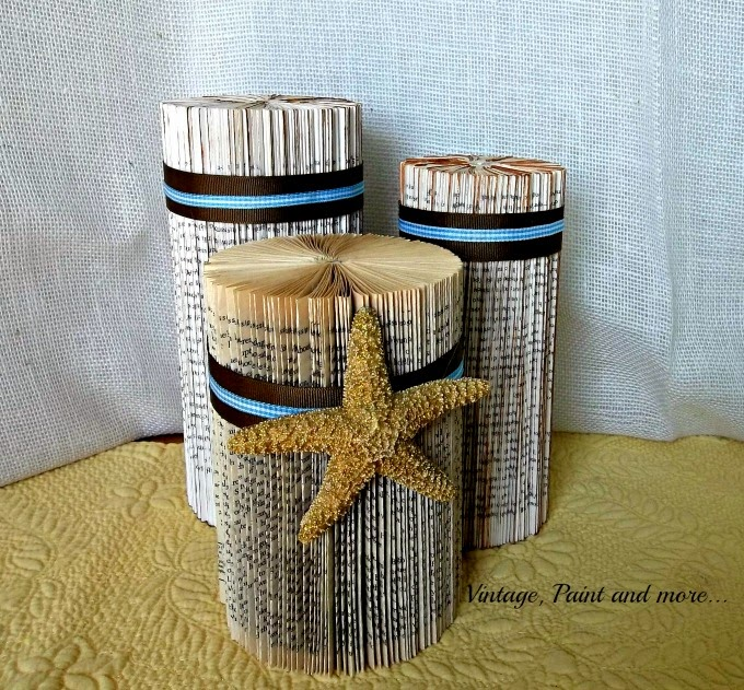 Tweak It Tuesday - old book columns, beach decor from old books, altered book decor