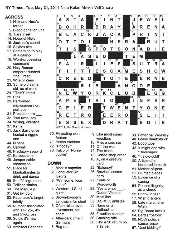 The New York Times Crossword in Gothic: May 2011