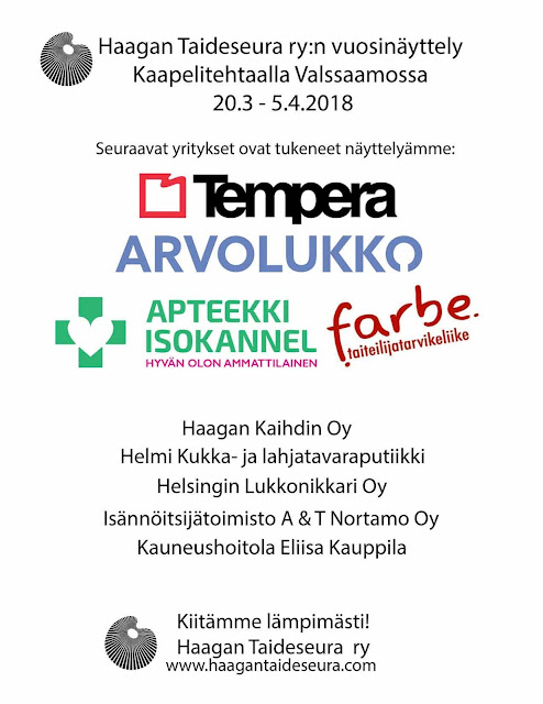 Haagan Taideseuran vuosinäyttelyä 2018 sponsoroivat yritykset